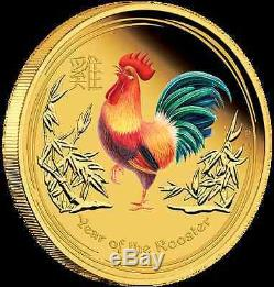2017 $100 Australian Lunar Series Rooster 1 oz gold proof coloured coin