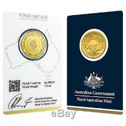 2017 1/4 oz Gold Kangaroo Coin Royal Australian Mint Veriscan. 9999 Fine In Ass