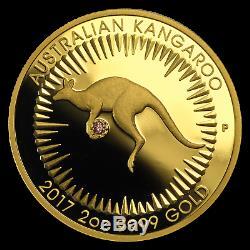 2017 Australia 2 oz Gold Proof Kangaroo Pink Diamond Edition