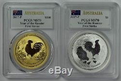 2017 Australia Gold Silver 1oz Year of Rooster Set PCGS MS70 1st Strike Mercanti