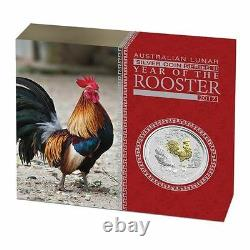 2017 Australia Lunar Year of the Rooster GILDED 1oz SIlver $1 Coin with OGP Gilt