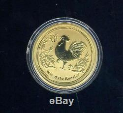 2017 Australian $25.00 1/4 Ounce Year of The Rooster Gold Coin