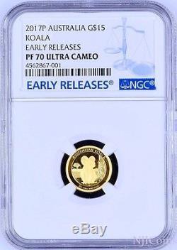 2017 Australian Koala 1/10 Oz $15 Gold Proof Coin Ngc Pf70 Australia 1500mintage
