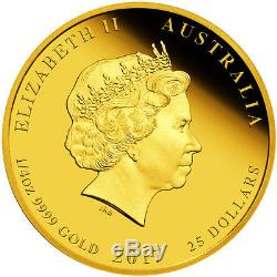 2017 Australian Lunar Series II Year Of The Rooster 1/4 oz. 9999 Gold Proof Coin