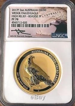 2017 P 2 Oz. Gold Wedge-Tailed Eagle Reverse Proof PF 70 Hand Sign John Mercanti