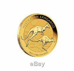 2018 $15 1/10oz Gold Australian Kangaroo. 9999 BU