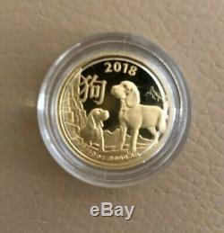 2018 1/10 oz Gold Royal Australian Lunar Year of the Dog Coin In Capsule. 9999