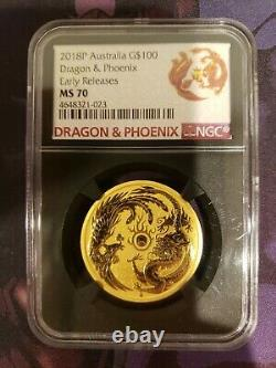 2018 1 oz Australian Dragon and Phoenix Gold Coin MS70 Early Release Rare Coin