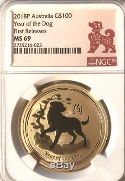2018 1 oz Australian Lunar Gold Dog NGC MS 69 First Release
