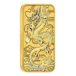 2018 1 oz Gold Australian Dragon Coin Bar $100 BU