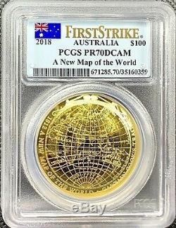 2018 Australia 1 oz Gold $100 Map of the World PR70 DCAM Eastern Hemisphere 1812