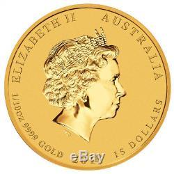 2018-P Australia Year of Dog 1/10 oz Gold Lunar (S2) $15 Coin GEM BU SKU49080