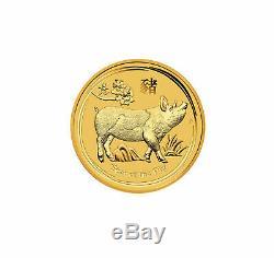 2019 $5 1/20th OZT Gold Australian Year of the Pig. 9999 BU Mint Capsule Bullion