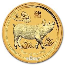 2019 Australian Lunar Series II Year Of The Pig 1/20 oz Gold BU Capsuled Coin