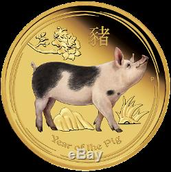 2019 Australian Lunar Year of the Pig 1oz Gold Proof COLORED $100 Coin Australia