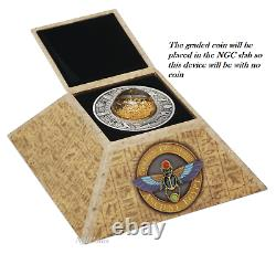 2019 Egypt Golden Treasures of Ancient 2oz Silver Antiqued $2 Coin NGC MS 70 FR