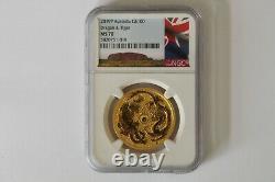 2019p Pop 23 Rare Australia One Ounce Gold Dragon & Tiger Ngc Ms70 G$100 Ebucks