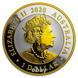 2020 1 oz $1 AUD Australian Silver Swan 24k Gold Gilded Coin Box & COA
