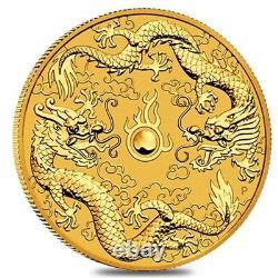 2020 1 oz Gold Australian Double Dragon Coin $100 BU Perth Mint In Cap