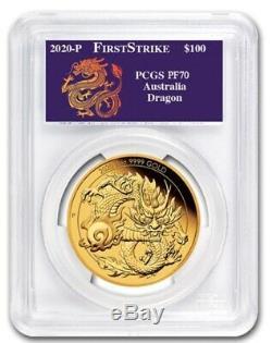 2020 Australia 1 oz Gold Dragon PF-70 PCGS (FS) #2 In Series! Rare 188 Mintage