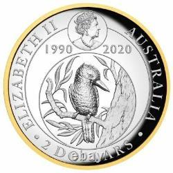 2020 Australian Kookaburra 2oz Silver Proof Gilded High Relief Coin