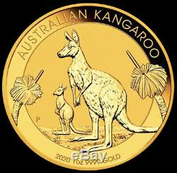 2020 Gold 1 oz. 9999 Fine Australia $100 Dollar Kangaroo Coin BU+ Perth Mint