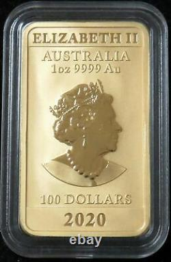 2020 Gold Australia $100 Dragon Coin 1 Oz Bar