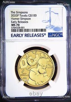 2020 Homer Simpson $100 1oz. 9999 GOLD BULLION COIN NGC MS70 EARLY Releases