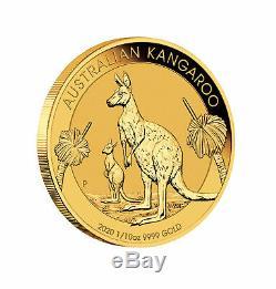 2020-P $15 1/10oz Australian Gold Kangaroo. 9999 Fine BU Perth Mint