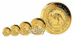 2020-P $25 1/4oz Australian Gold Kangaroo. 9999 Fine BU Perth Mint