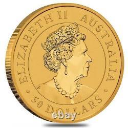2021 1/2 oz Australian Gold Kangaroo Perth Mint Coin. 9999 Fine BU In Cap