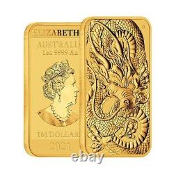 2021 1 oz Gold Australian Dragon Coin Bar $100 BU