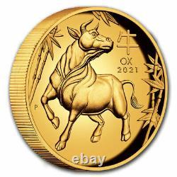 2021 Australia 1 oz Gold Lunar Ox Proof (HR, Box & COA) SKU#223786
