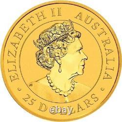 2021 Gold 1/4 oz Australia Kangaroo $25 Queen Elizabeth Coin BU+ Perth Mint