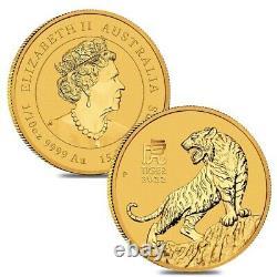 2022 1/10 oz Gold Lunar Year of The Tiger BU Australia Perth Mint In Cap