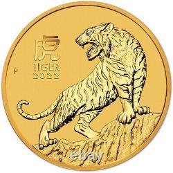 2022 P Australia Gold Lunar Series III Year of the Tiger 1/4 oz $25 BU