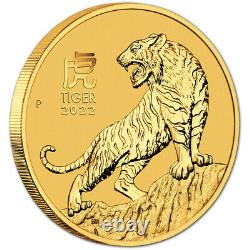 2022 P Australia Gold Lunar Series III Year of the Tiger 1 oz $100 BU