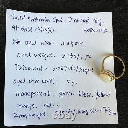 2ct Elegant Australia Solid Opal Ring 9K Gold With0.087ct brilliant Diamond 9.95ct
