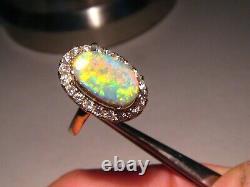 3.25 ct. Australian Black Opal and Diamond Ring 14k Yellow Gold