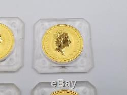 4 1990 Australia 1 oz. 9999 Gold Kangaroo Nugget BU