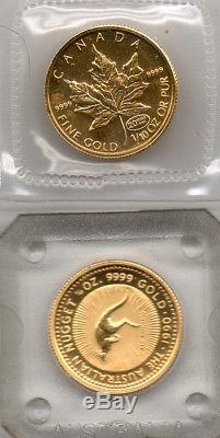 5 Coins 1/10th oz. 9999 Fine Gold, 4 Maple Leafs, 1 Australian Nugget, 24 CaratGLD