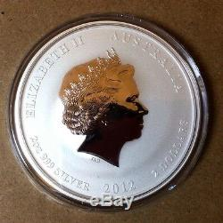5 x 2 oz 2012 Silver Australian Lunar Year of the Dragon Coin SEALED MINT ROLL