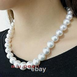 AAAAA 1712-13mm round natural REAL south sea white pearl necklace 14K GOLD