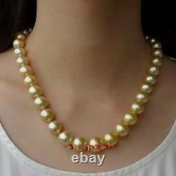 AAAAA 1811-12MM NATURAL real south sea golden yellow pearl necklace 14K gold