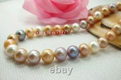 AAAAA 189-10mm REAL natural round South sea Multicolor pearl NECKLACE 14K gold