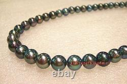 AAAAA 189-10mm round NATURAL REAL south sea black GREEN pearl necklace 14K gold