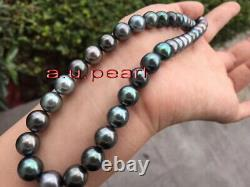 AAAAA 2010-11mm Natural REAL ROUND TAHITIAN black pearl necklace 14K GOLD