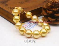 AAAAA 7.512-13mm Natural real round south sea golden pearl bracelet 14K GOLD