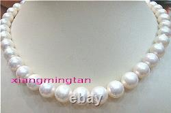 AAAAA round real 1810-11mm NATURAL south sea white pearl necklace 14K GOLD