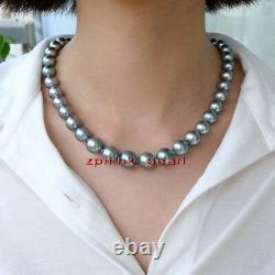 AAAAA round real 18 inch 9-10mm NATURAL south sea GRAY pearl necklace 14K gold
